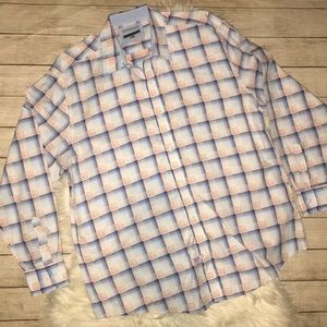 Johnston & Murphy Plaid Button Up Dress Shirt